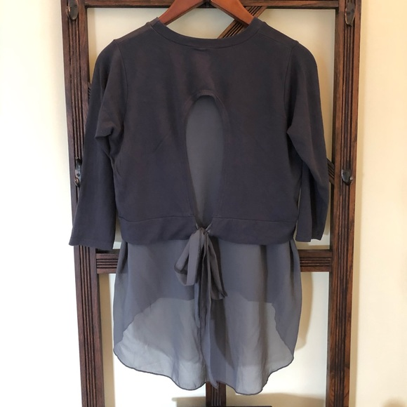 Blue gray blouse - tie up bow on back